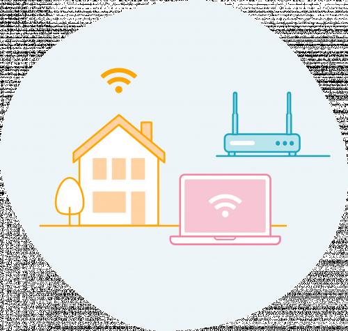 Afbeelding van een huis met overal wifi-verbinding