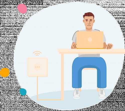 Man achter bureau werkt op laptop met internetverbinding