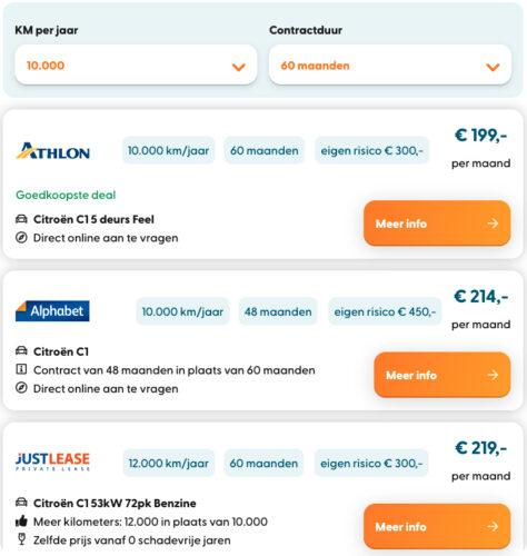 screenshot private lease aanbiedingen vergelijken